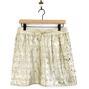 Anthropologie Sliced Silverfield Skirt Size 6 Gold